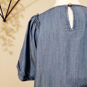 LOFT Tops - Loft | Ruffled Sleeve Chambry Linen Blend Top